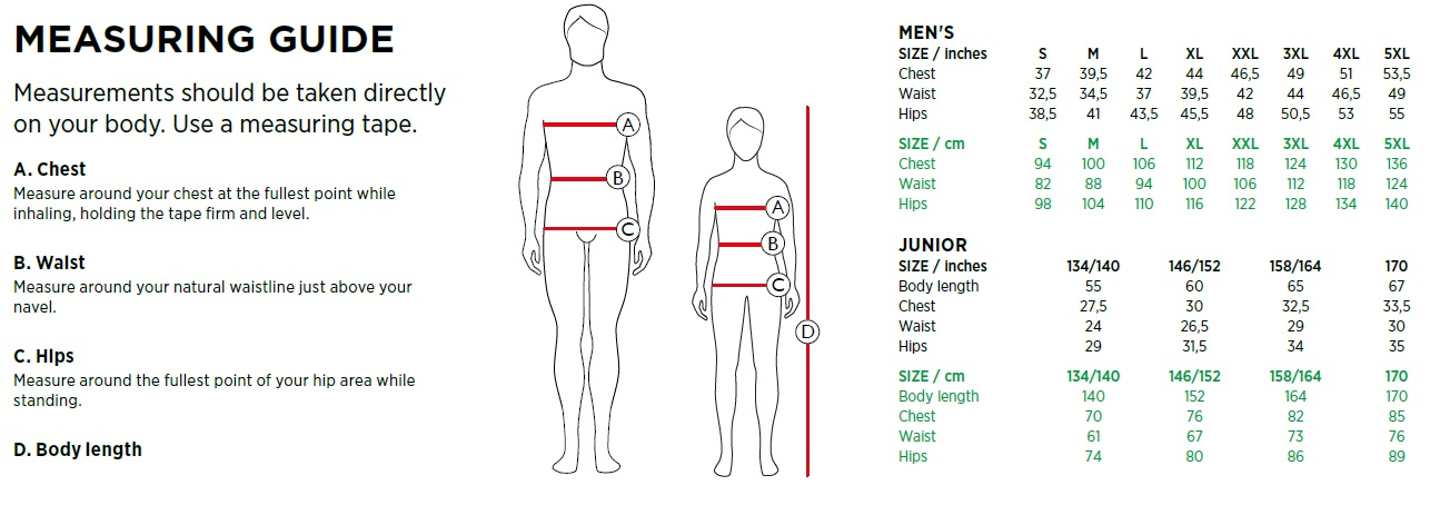 Galvin Green Men and Junior Size Chart