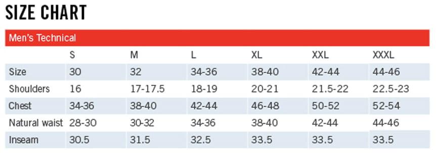 Sunice Size Chart