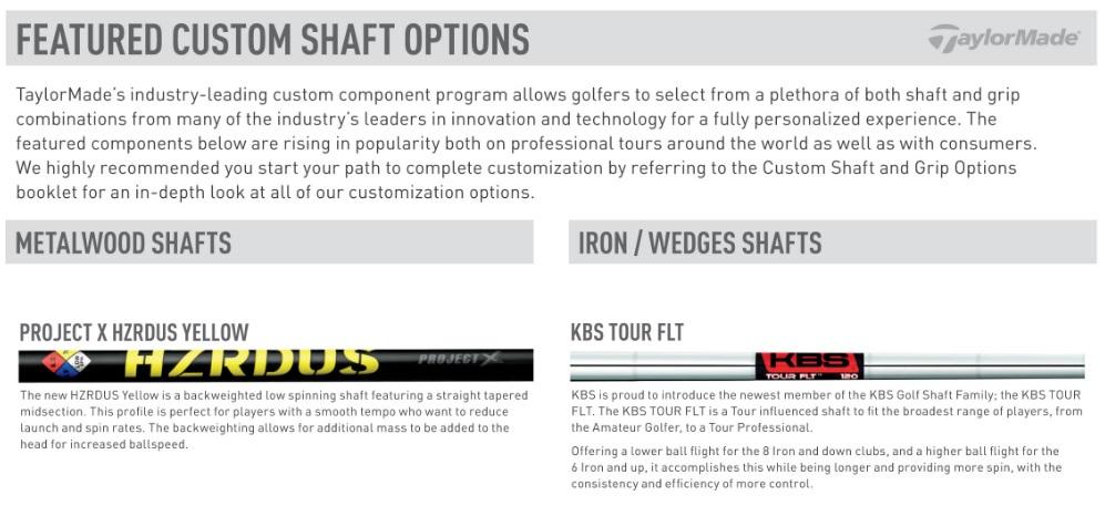 TaylorMade Custom Fit Shaft Options